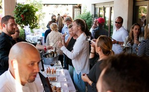 Guests Enjoying Cultivar Wine and Plumpjack Catering Light Bites at Balboa Cafe Mill Valley